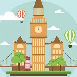 Illustrazione di Londra con mongolfiere, cabina telefonica, London bridge e Big Ben