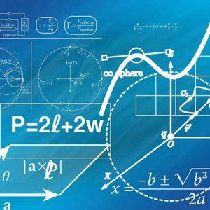 Formule matematiche e piani cartesiani su sfondo blu